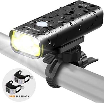Sahara Sailor Front Bike Light USB Rechargeable - Super Bright 800 Lumens Aluminum Alloy IPX6 Waterproof Bicycle Light W Free Wired Remote Control - Fits All Bicycles, Road, MTB …
