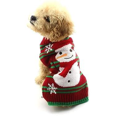 NACOCO - Suéters para nieve para perros, con forma de muñeco de nieve, suéter para navidad o año nuevo, ropa para mascotas para perros y gatos pequeños