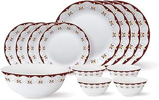 Larah by Borosil - Tiara Series, Royal Brown, 13 Pcs, Opalware Dinner Set, White