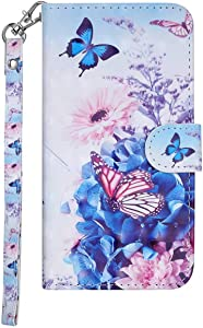 DENDICO Huawei Mate Case  Premium Design Leather Wallet Cover for Huawei Mate 10  Flip Magnetic Case with Card Holder and Hand Strap Blue Butterfly