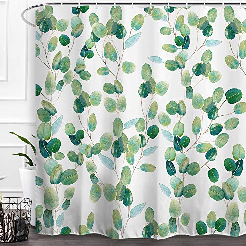 Baccessor Green Leaves Shower Curtain Watercolor Eucalyptus Botanical Plant Floral Pattern Artistic Shower Curtain Waterproof Fabric Bath Curtain with Hooks Bathroom Home Decoration 72 x 72 Inch