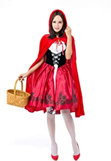 Deer Mum Women Cozy Cosplay Dress Costumes Little Red Riding Hood with Cape 2 Pieces