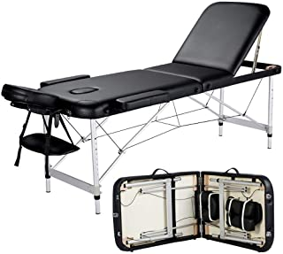 ADDCOOL Massage Table Portable Massage Bed 3 Folding 84 Inch Aluminum Frame Lightweight Height Adjustable Salon Spa Table with Carry Case (Black)