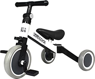 Kiwicool 3 in 1 Kids Tricycles for 1.5-4 Years Old Kids Trike 3 Wheel Bike Boys Girls 3 Wheels Toddler Tricycles (White)