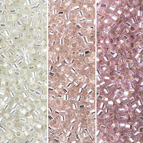 Miyuki Delica Seed Beads Bundle: Size 11/0, Palette Collection DB1203, DB1431, DB1433, 7.2 Grams, 3 Tubes