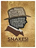 Why Did It Have To Be Snakes Giclee Art Print Poster from Typography Drawing by Pop Artist 9' x 12'