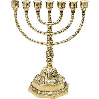Candelabro Menorah lat/ón pulido 7/brazos grande hebreo