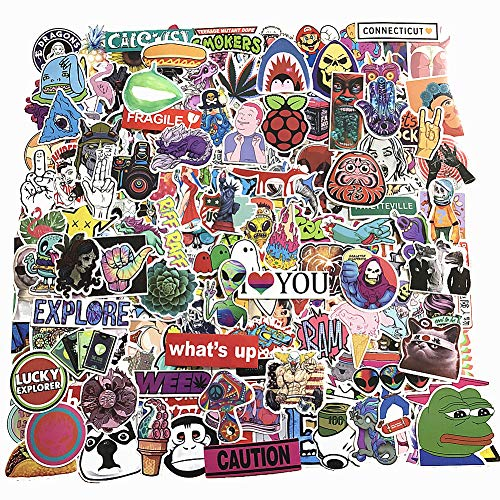 200-Pcs PVC Stickers Vinyl Various Laptop Car Decals Waterproof Sunlight-Proof Durable for Cars Motorbikes Luggage Skateboard Decor