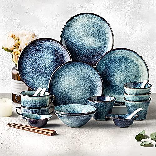 aedouqhr Juegos de vajillas, Platos y Cuencos de cerámica |Juego de Platos de Cena Retro Euro de 38 Piezas, Platos de Esmalte Degradado Azul para Fiesta Familiar