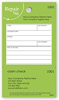 CheckSimple Repair Tags with Claim Check - Green 3 1/8