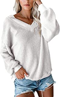 Women Oversized Shirts V Neck Loose Long-Sleeve Casual Solid Tunic Jumper Tops