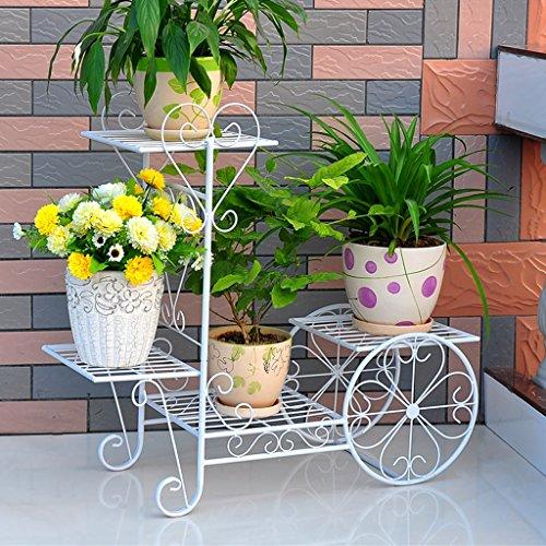 CKH Support de Fleur de Fer Plancher Pots de Fleurs de Style européen Salon Balcon Multi-étages Radis Vert intérieur Étagère de Fleurs Multifonctions (Color : Gold)