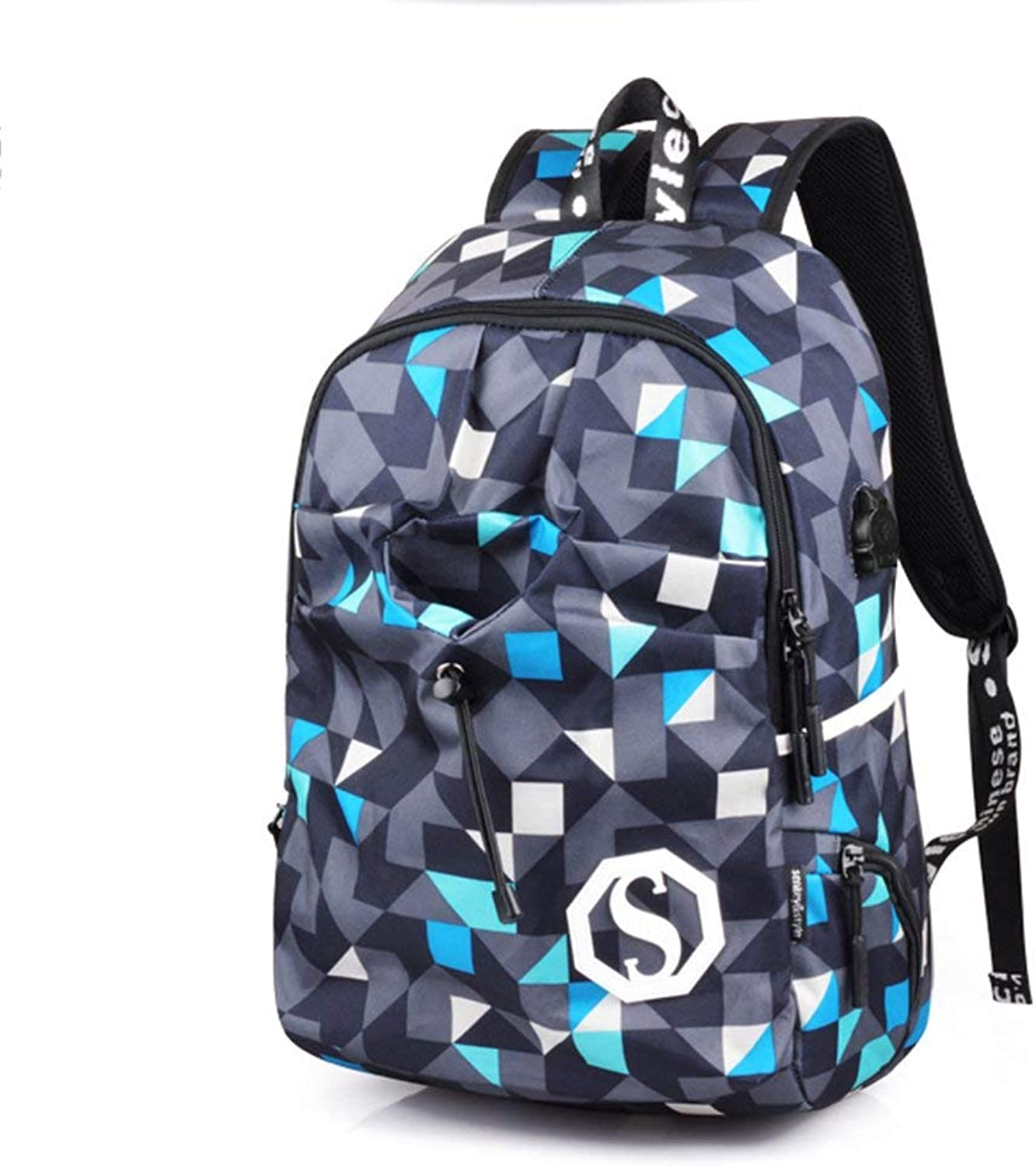 Men's Fashion Backpack Casual Daypacks Backpack Laptop Bag Casual Backpack Student Bag Travel Bag Fashion (color   blueee Plaid, Size   M)