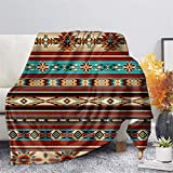 GLENLCWE Tribal Native Stripe Aztec Print Fleece Throw Blanket Fluffy Flannel Blanket Microfiber Bed Blanket Soft Lightweight for Adults Kids