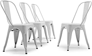 Sponsored Ad - BELLEZE Vintage Style Metal Dining Chairs - White (Set of 4) Stackable Backrest Chair for Kitchen & Office