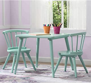 Caden Strong and Sturdy Easy to Assemble Activity Table and Chair Set in Aqua, Features Spacious Square Tabletop and Two Coordinating Chairs