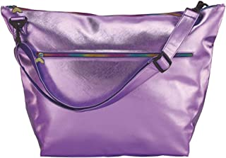 """iscream Purple Metallic Faux Leather Weekender 23.5"""" Travel Tote Bag with Adjustable Strap"""