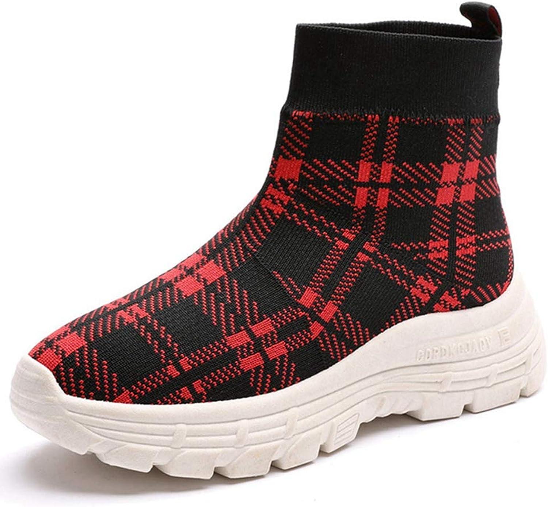 GIY Women Casual Platform Wedge Sneakers Slip On Loafers Comfort Knitting High Top Mid Heel Wedge shoes