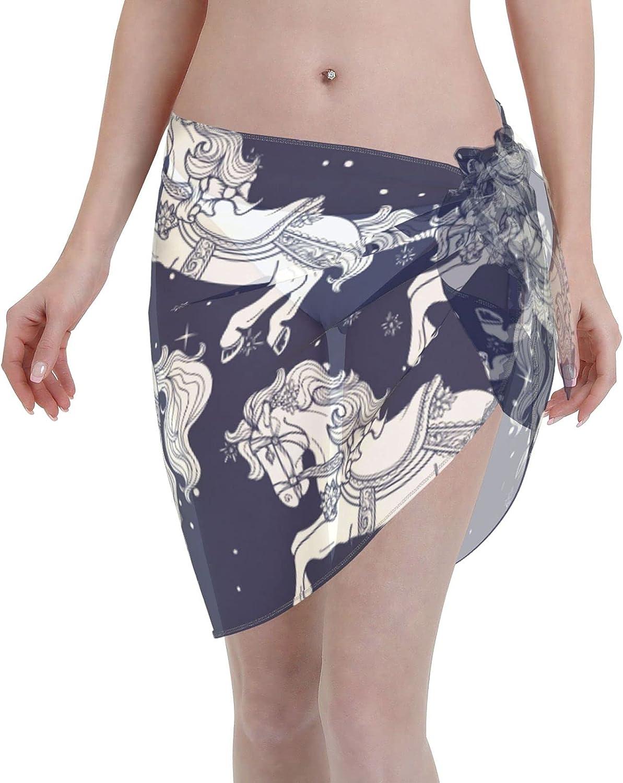 Reindeer Horn Women Short Graceful Unicorns On Sarongs Cover Ups Beach Chiffon Sarong Bikini Swimwear Black