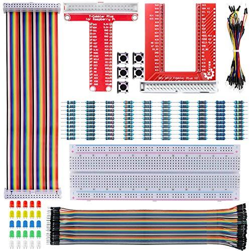 Youmile Carte extension GPIO Breakout Kit pour Raspberry Pi 4 3B + 3B 2B B Kit Zero W, planche à pain 830 points d'attache + carte d'extension GPIO T/U + fils de cavalier + câble ruban arc-en-ciel