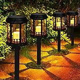 Lanterne Solari GolWof 4 Pezzi Lampada Solare Giardino Esterno Impermeabile Candela Tremolante Gialla Calda Energia Solare Lampada Decorazione per Cortile e Prato (Nero)