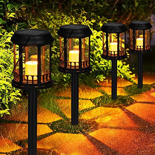 Lanternes Solaires Extérieur GolWof Lot de 4 Lampe Solaire Jardin Exterieure au Sol Bougie Scintillante Jaune Chaud Lampe Solaire Suspendue Décoration pour Cour Pelouse Patio (Noir)
