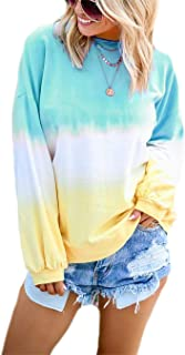 YEMOCILE Women's Long Sleeve Crewneck Tie Dye Thin Tunic Tops Blouse Pullover Sweatshirt Hoodies