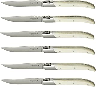 Laguiole By FlyingColors Steak Knife Set. Stainless Steel, Bone Handle, Gift Box, 6 Pieces