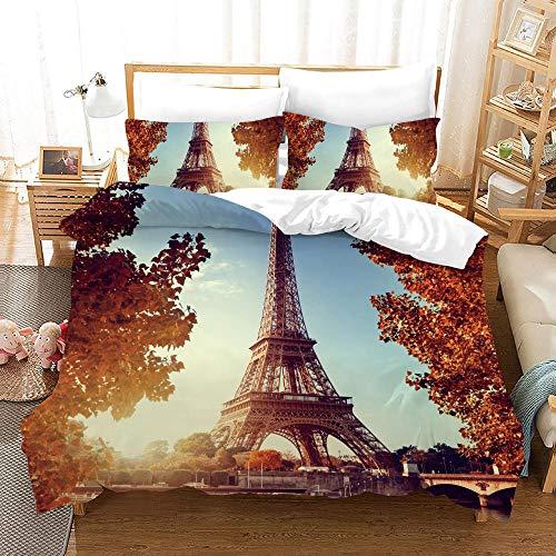 Gabapipa® Ropa de Cama Doble Funda nórdica de Cama 90 Torre Eiffel 200 x 200 cm Torre Eiffel Juego...