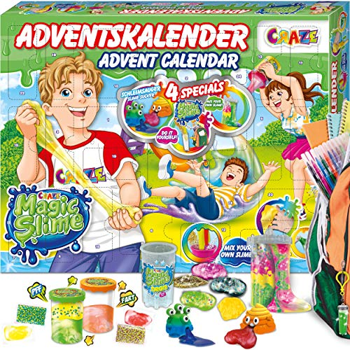 CRAZE Premium Advent Calendar 24737 Calendario de adviento 2020 Magic Slime niñas con Contenido Creativo y Grandes sorpresas, Color Play Set
