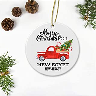 New Egypt New Jersey State Family New Home Ornament 2019 Christmas First New House - Decor Housewarming, Keepsake Present For Friends And Family - Merry Christmas Ornament 3 Inches