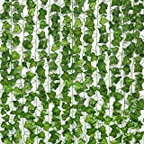 JPSOR 24pcs 158 Feet Fake Ivy Leaves Fake Vines Artificial Ivy, Silk Ivy Garland Greenery Artificial Hanging Leaves Plant for Wedding Wall Decor, Party Room Decor
