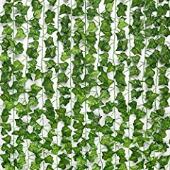Note: The artificial ivy vine is dyed and processed. It is normal for fake leaves to smell. Please put them in a ventilated environment after receiving them, and the smell will quickly dissipate. Greenery Garland length: 78.7 inches / 2 meters each v...