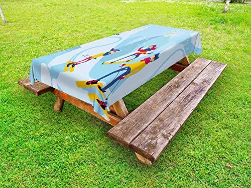 ABAKUHAUS Familie Tafelkleed voor Buitengebruik, Cartoon Mountain Snowboard, Decoratief Wasbaar Tafelkleed voor Picknicktafel, 58 x 84 cm, Sky Blue Earth Geel