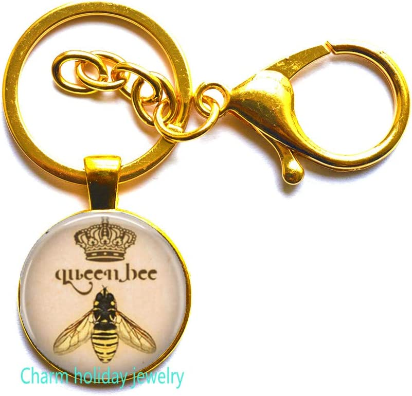 bee keeper gift home is where your honey is hand stamped metal key chain with bee charm honey i love bees bee keeping
