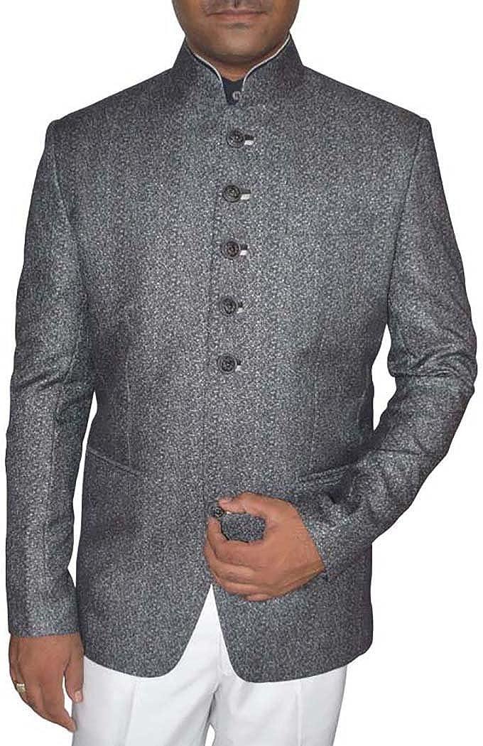 INMONARCH Mens Gray Self Design Polyester 2 Pc Jodhpuri Suit JO357
