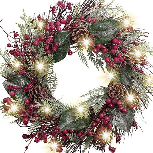 Valery Madelyn 45cm Pre-Lit Corona de Navidad de Puerta, Rojo Blanco 20 Luces LED con 8 Modos, Base de Ratán con Adornos de Bayas, Decoración de Navidad para Hogar, Ventana, Pared