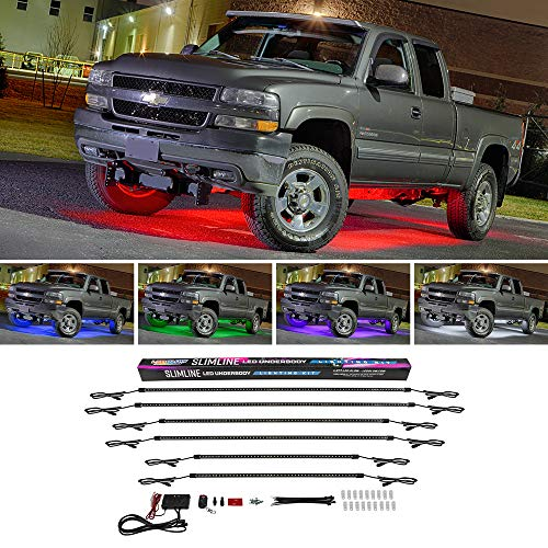 LEDGlow 6pc Multi-Color Truck Slimline LED Underbody Underglow Accent Neon Lighting Kit – 10 Solid Colors – 13 Unique Patterns – Music Mode – Water Resistant Tubes – Includes Control Box & Remote