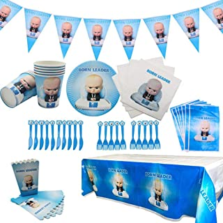Boss Baby Party Supplies Set 78 Pack Birthday Party Decorations Includes Disposable Tableware Kit, Gift Bag,Banner and Nap...
