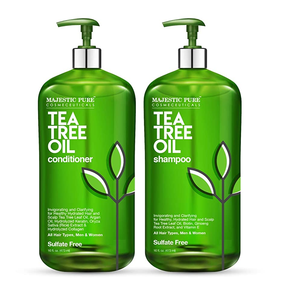 MAJESTIC PURE Tea Tree Shampoo and Conditioner Set For Men and Women 16 fl oz each - Naturally Hydrating, Dandruff Fighting Duo for Itchy and Dry Scalp - For All Hair Types- Paraben and Sulfate Free