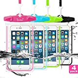 LENPOW Waterproof Phone Case, 4 Pack Universal Waterproof Pouch Dry Bag with Neck Strap Luminous Ornament for Water Games Protect iPhone 11 Pro XS XR X Max SE 8 7 Plus Galaxy S10 S9 Note Google LG HTC