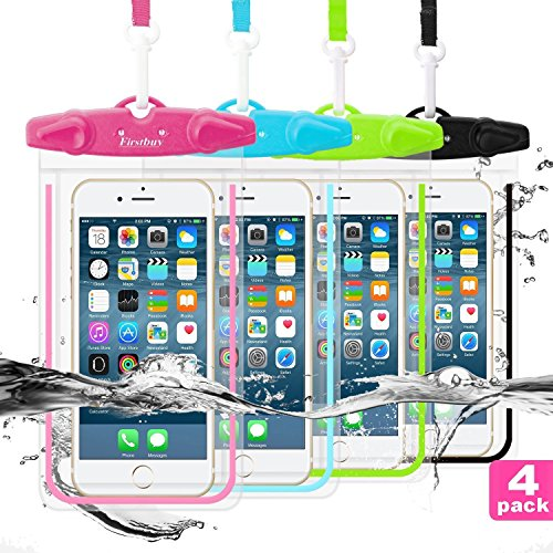 CUZMAK Waterproof Phone Case, 4 Pack Universal Waterproof Pouch Dry Bag with Neck Strap Luminous Ornament for Water Games Protect iPhone 11 XS XR X 8 7 Plus Galaxy S10 9 Edge Note Google Pixel LG HTC