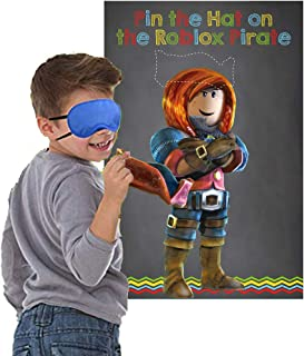 Pin The Hat on The Pirate Birthday Party Game, Robot Blocks Party Decorations Supplies Building Block Party Games(24 Hats)...