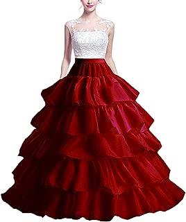 YUAKOU Women's 4-Hoop 5 Layer Wedding Petticoat Skirt Quinceanera Gown