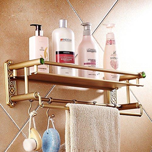Support de stockage cosmétique de support de stockage de salle de bains de cuivre de style européen rétro, support multifonctionnel avec le crochet/salle de bains (Couleur : #1, taille : 42cm)
