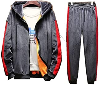 Mens Spring Winter Hoodie Tracksuit Zipper Sweatshirt Top Pants Sets Sport Suit Activewear
