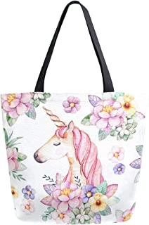 Naanle Unicorn Canvas Tote Bag Large Women Casual Shoulder Bag Handbag, Floral Unicorn Reusable Multipurpose Heavy Duty Shopping Grocery Cotton Bag for Outdoors.