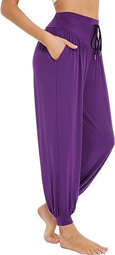 Sykooria Pantalon Sarouel Femme pour Pilate Hippie Yoga Fitness Danse Sport Taille Haute Bouffant Pants