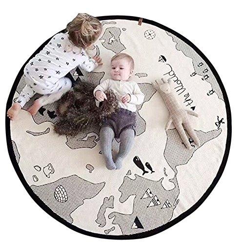 Lzttyee Beige Adventure World Map Pattern Baby Crawling Mats Game Blanket Floor Playmats Round Carpet Children's Room Decoration