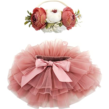 NUEEUDD Tutu Skirt 2 Pieces Newborn Baby Girl Photo Prop Tutu Skirt Headband Set Ruffled Tulle Dress Flower Hairband Party Costume Outfits 0-9 Month Rose Red
